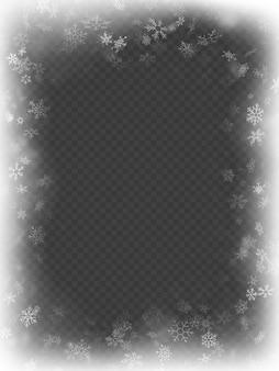 Resumen efecto de superposición de marco de navidad con copos de nieve.