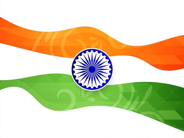 Resumen elegante bandera india tema vector fondo