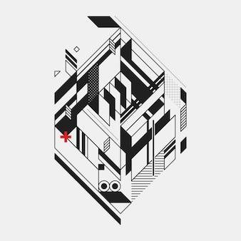 Resumen elemento geométrico en el estilo futurista aisladas sobre fondo blanco. útil para impresiones y carteles.