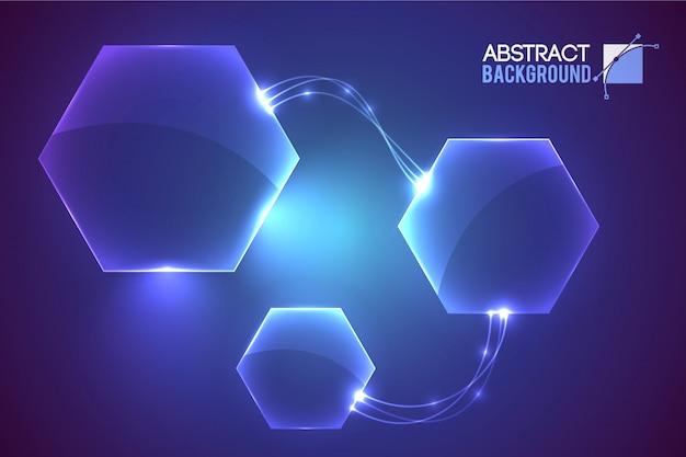 Resumen con elementos en forma de hexágono vacío de interfaz virtual moderna conectados