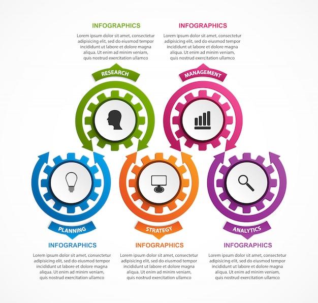 Resumen engranajes infografía. elemento de diseño.