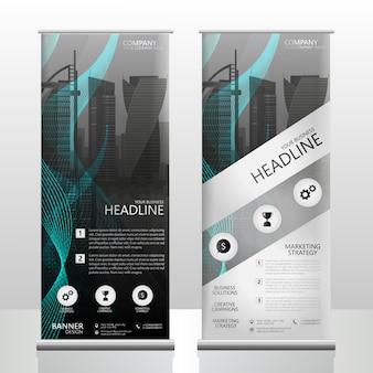 Resumen enrollable diseño de volante folleto con un fondo de pantalla de ciudad vector