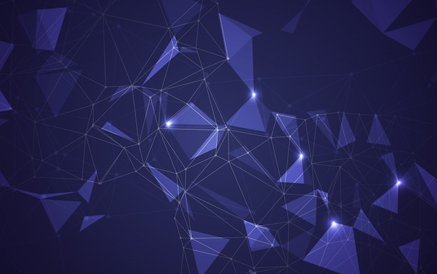 Resumen espacio poligonal bajo poli oscuro fondo oscuro con puntos y líneas de conexión. estructura de conexión ilustrador vectorial