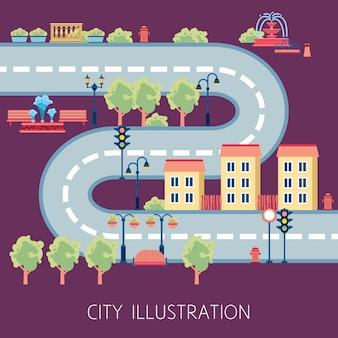 Resumen de esquemas de la calle de la ciudad plana banner