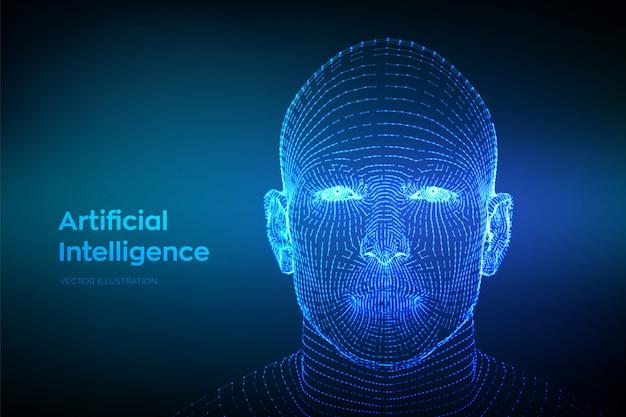 Resumen estructura metálica digital rostro humano. cabeza humana en interpretación de computadora digital robot