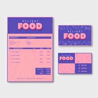 Resumen de factura de alimentos y tarjeta de visita