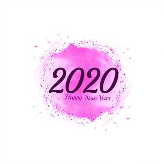 Resumen feliz año nuevo 2020 fondo rosa