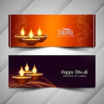 Resumen feliz diwali banners religiosos diseño