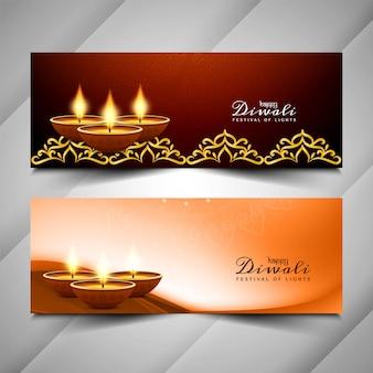 Resumen feliz diwali festival banners conjunto