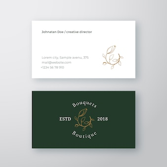 Resumen flor bourgeon vector signo o logotipo y plantilla de tarjeta de visita