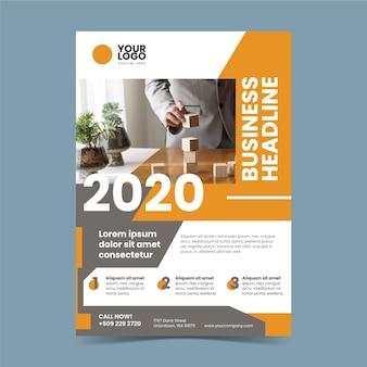 Resumen folleto de negocios con foto de hombre de negocios