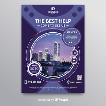Resumen folleto de negocios con rascacielos