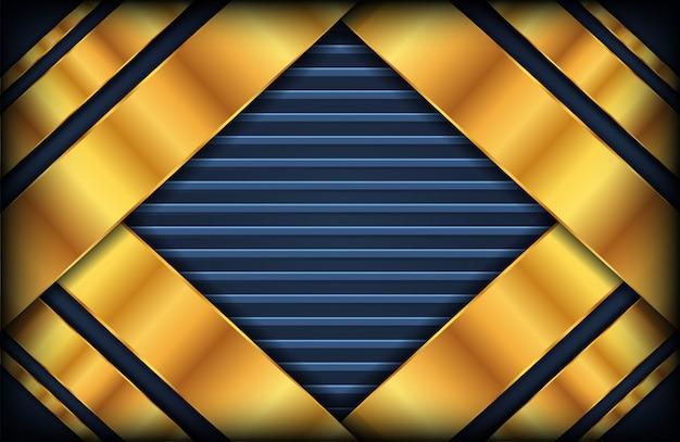 Resumen fondo azul oscuro con capas doradas superpuestas