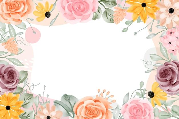 Resumen de fondo de marco floral con espacio en blanco