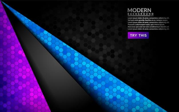 Resumen fondo oscuro 3d con degradado morado y azul.