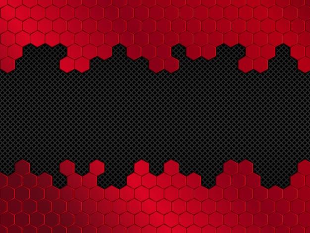 Resumen fondo rojo y negro con hexágonos. ilustración