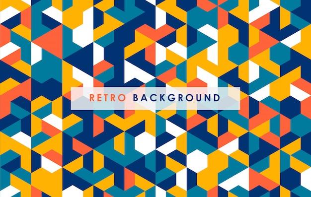 Resumen forma hexagonal colorido fondo retro