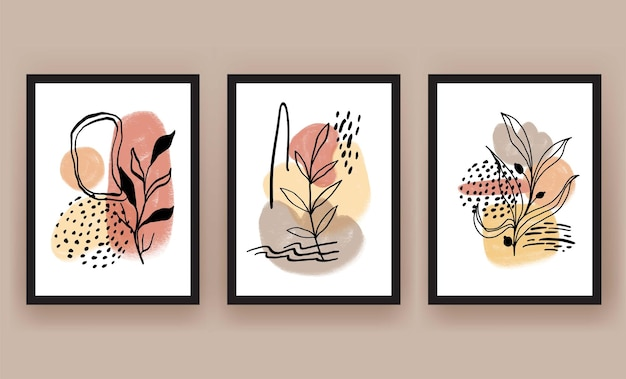 Resumen, forma, y, hoja, boho, moderno, minimalista clipart