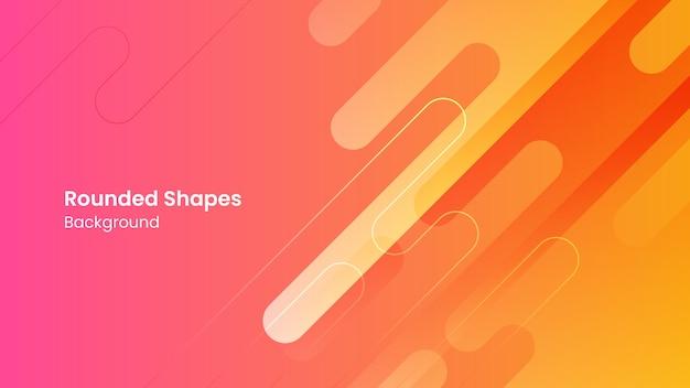 Resumen formas redondeadas naranja y rosa fondo blanco.