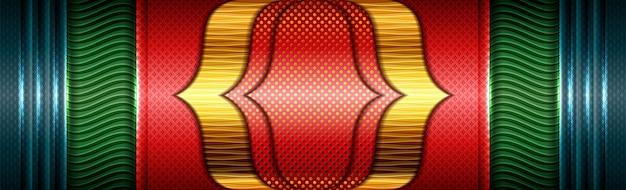Resumen futurista moderno verde rojo con fondo de superposición de oro