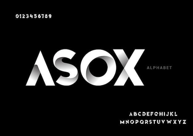 Resumen futurista tecnología moderna. fuentes modernas del alfabeto