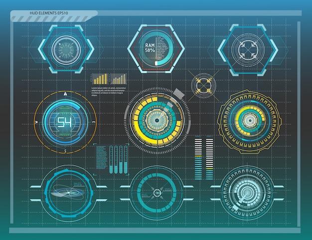 Resumen futuro hud futurista azul virtual infografía.