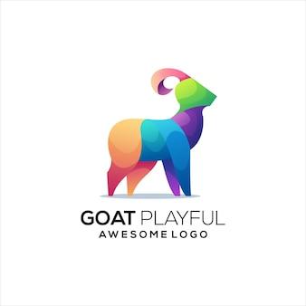Resumen de gradiente colorido de logotipo de cabra