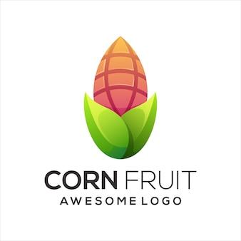 Resumen de gradiente de logotipo colorido de maíz