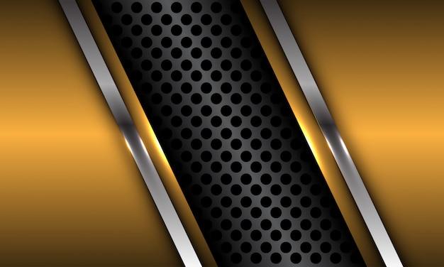 Resumen gris oscuro círculo metálico malla slash oro plata línea lujo futurista fondo.