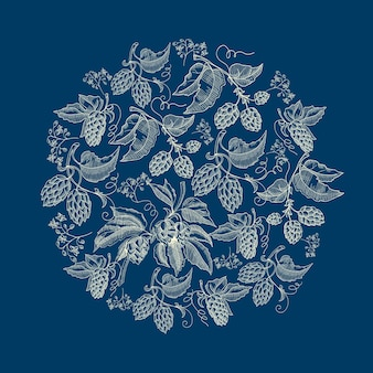 Resumen guirnalda redonda natural sobre fondo azul