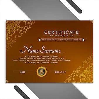 Resumen hermoso diseño de plantilla de certificado