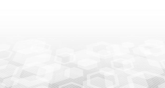 Resumen hexagonal de diseño blanco de tecnología médica con fondo de semitono.