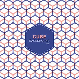 Resumen hexágonos de patrón geométrico cubo azul y rosa