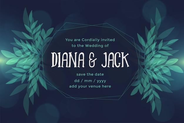 Resumen hojas de estilo oscuro diseño de tarjeta de boda