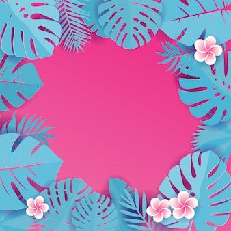 Resumen con hojas tropicales azules cian. patrón de selva con flores frangipani. alcaparra floral cortada. ilustración cuadrada con. tarjeta de felicitación tropical