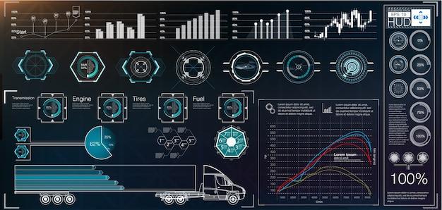Resumen de hud. conjunto de interfaz de usuario moderno de ciencia ficción futurista.