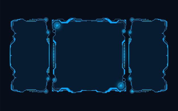 Resumen de hud futurista fondo de concepto de tema monocromo azul futuro.