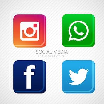 Resumen iconos de redes sociales establecen diseño