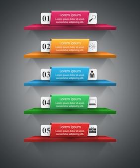 Resumen ilustración digital 3d infografía. icono de estantería