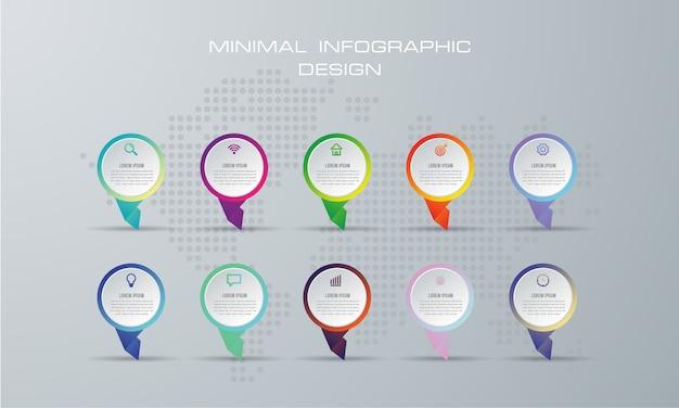 Resumen ilustración digital 3d infografía. utilizado para el diseño de flujo de trabajo, diagrama, opciones de números
