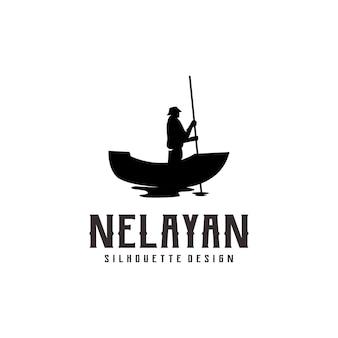 Resumen de ilustración de logo de silueta de pescador