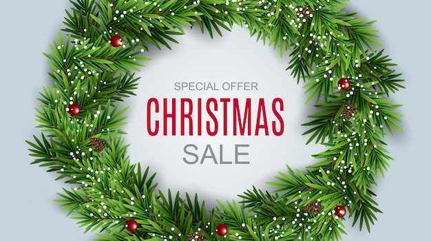 Resumen ilustración vectorial venta de navidad, oferta especial de fondo. plantilla de tarjeta de descuento de invierno