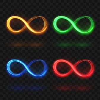 Resumen infinito brillante o eterna luz mágica bucle símbolos vectoriales.