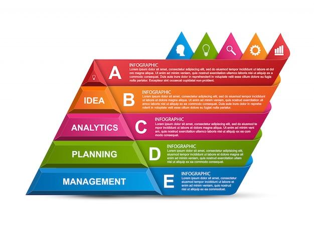 Resumen infografía 3d pirámide opciones.