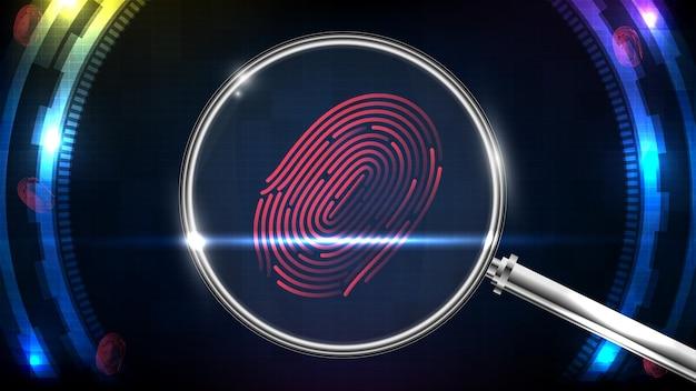Resumen de investigación confidencial de tecnología futurista huella digital y lupa
