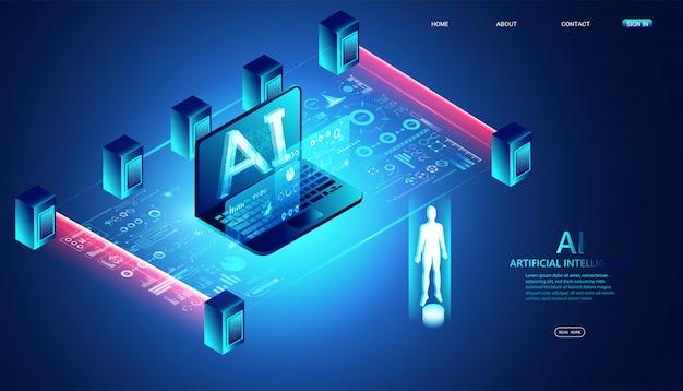 Resumen isométrico ai tecnología concepto placa de circuito de ai