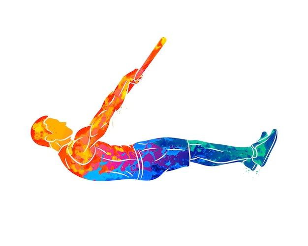 Resumen joven haciendo ejercicio abdominal en barra horizontal de salpicaduras de acuarelas. entrenamiento funcional con peso propio. entrenamiento en la calle. entrenamiento de calistenia. ilustración