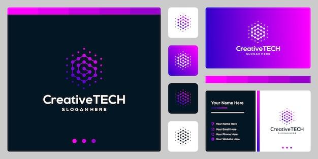 Resumen de la letra g inicial del logotipo de inspiración con estilo tecnológico y color degradado. plantilla de tarjeta de visita