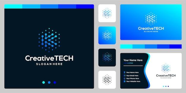 Resumen de la letra k inicial del logotipo de inspiración con estilo tecnológico y color degradado. plantilla de tarjeta de visita