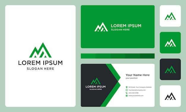 Resumen de la letra n, logotipo de la montaña e inversión. tarjeta de visita.